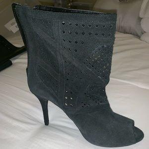 Zara Suede Open-toe ankle bootie